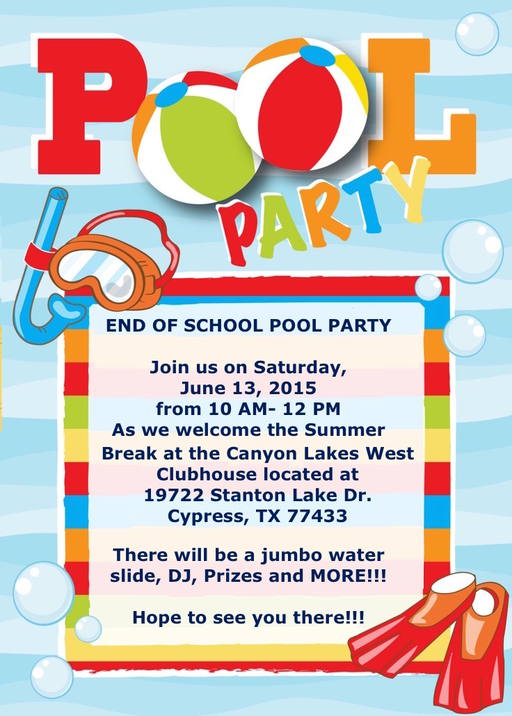 End of School Pool Party at Miramesa Flyer